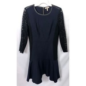 Rebecca Taylor Navy Dress Lace Sleeves